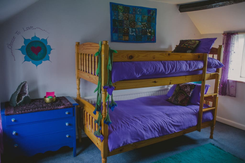Little India ~ Triple B&B Room, the bunk beds ~ Organic Vegetarian / Vegan Healthy Breakfasts, Decorated with organic natural eco paints, reclaimed & recycled wood, organic cotton towels.