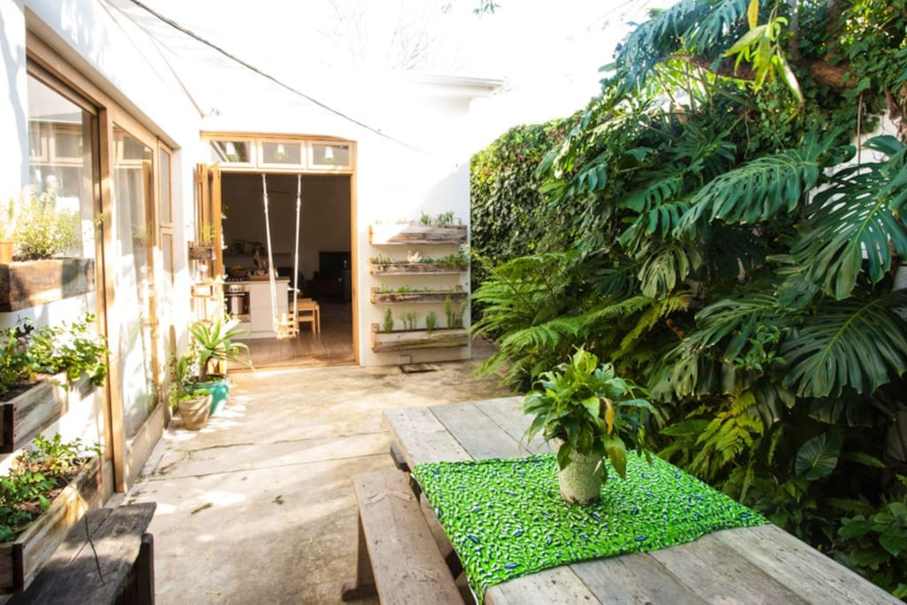 The outside courtyard with a huge 8 seater outdoor table as well as an outside shower and misters for when it gets really hot.