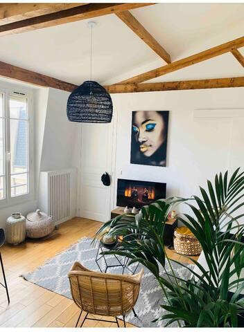 Chambre dans bel appartement type «loft»