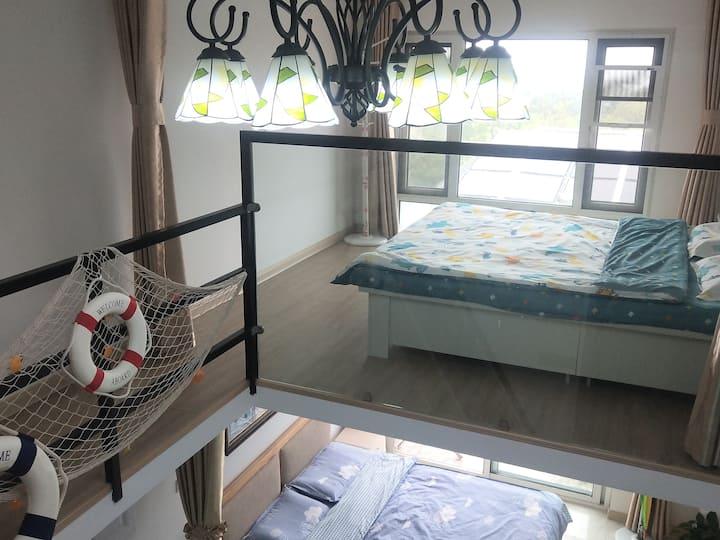 海景复式公寓/蓬莱阁附近/步行海边海水浴场民宿