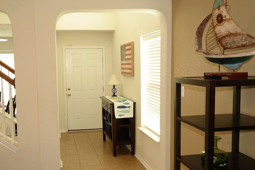 Well lit front entry area.