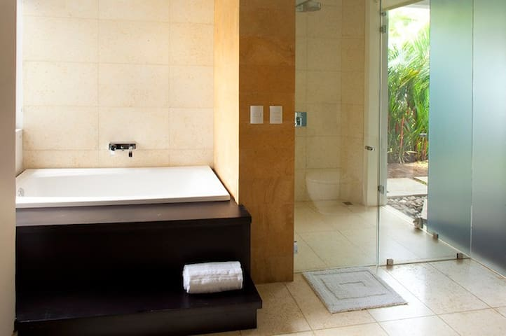Bathroom with outside shower