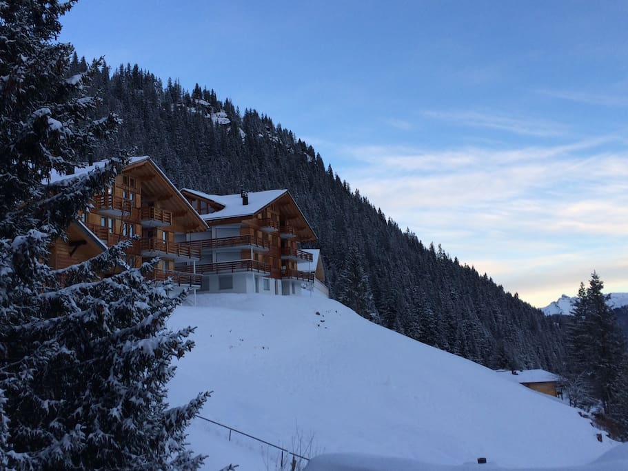 Chalet (right) in winter