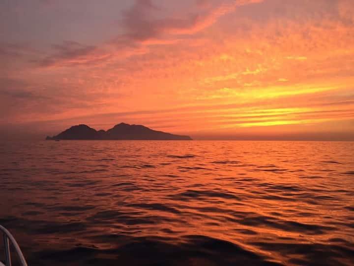 Positano boat sunset
