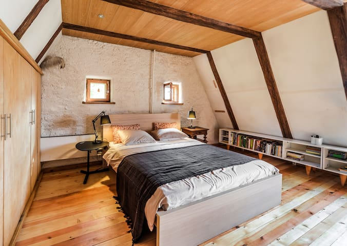 Masters bedroom at the very South end of attic space