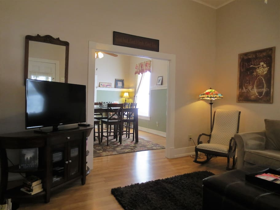 HDTV in Living Room and Adjoining Dining Room
