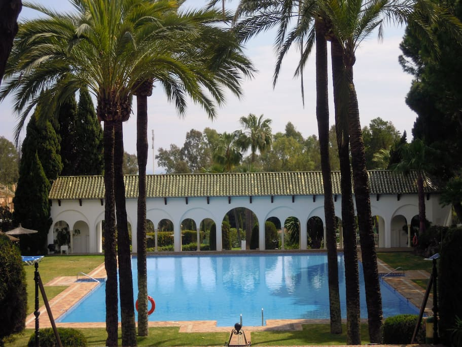 The largest pool and beautiful gardens..