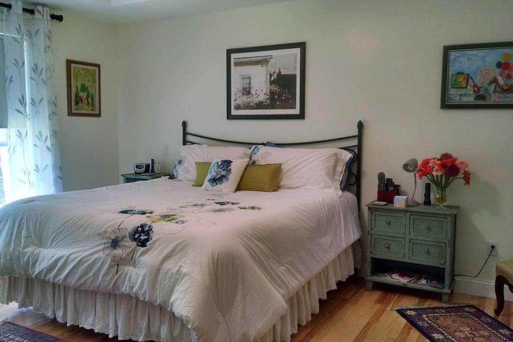 Your room has a king Amerisleep memory foam bed, plenty of storage, 1000-ct linens...