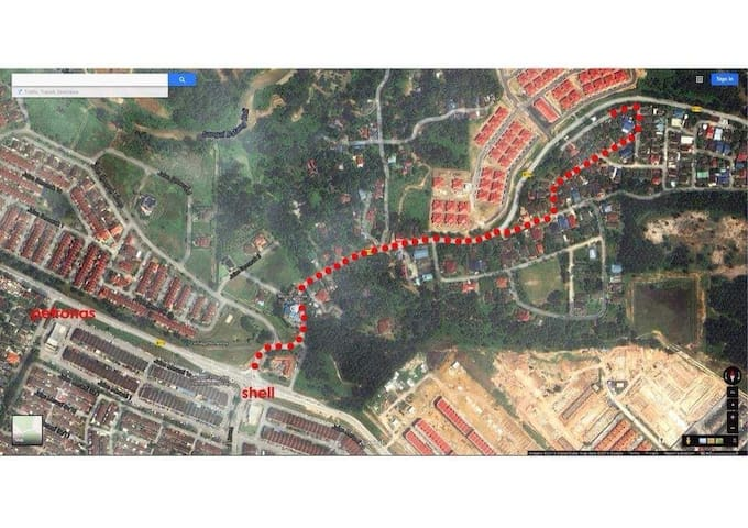 Routes using Google map Satellite view from Shell Batang Kali to Teratak Permai Homestay.