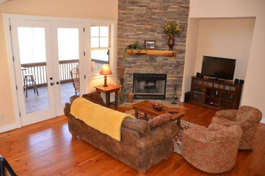 Inviting living room with fireplace