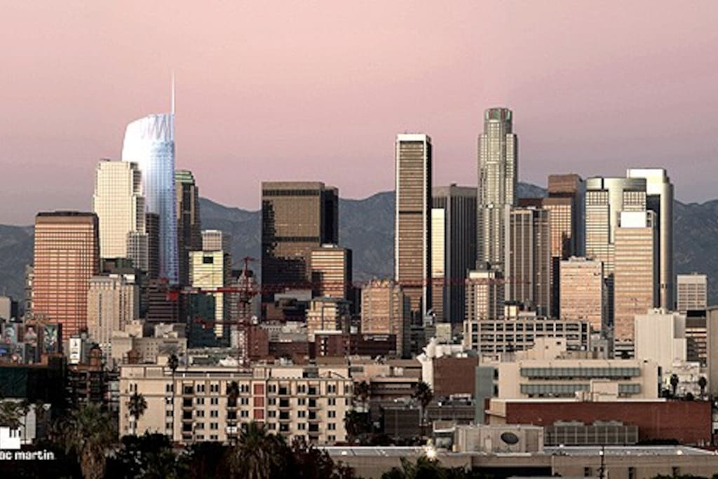 New DTLA Skyline,  Apartment is in the middle of this concrete jungle