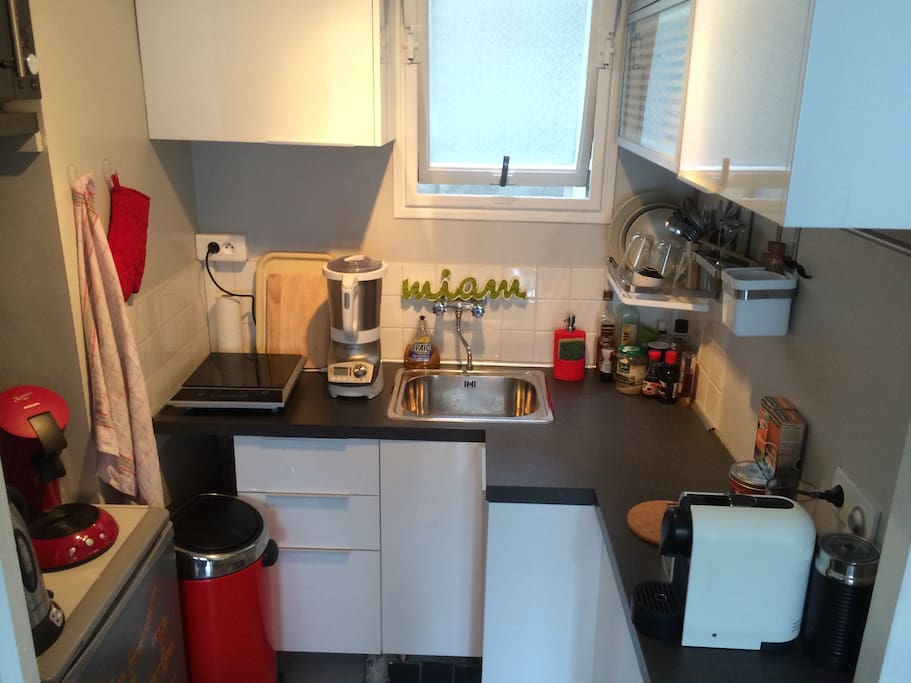 Fitted kitchenette : nespresso machine, kettle, microwave, hotplate and other things to cook.
