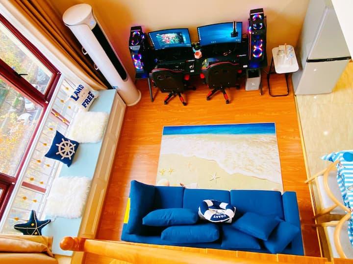 慵懒地中海双人电竞大床房,1660ti+27寸高刷,酒吧、夜宵一条街,欣赏迪荡新城夜景