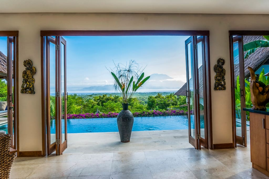 The view from inside the entry at Villa Nusa with Mount Agung in the background