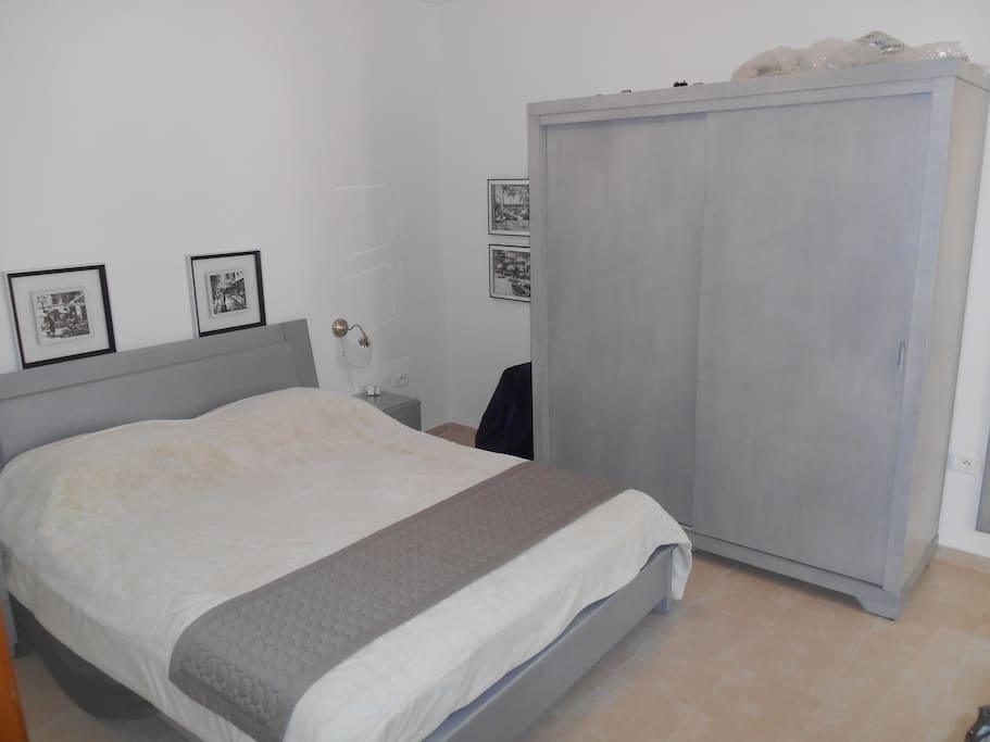 The bedroom has a Superking size bed and bespoke bedroom furniture, curtains, blackout curtains and electric shutters for your comfort. There is also a balcony off the bedroom.