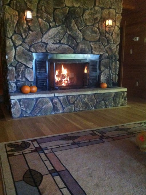 The wood-burning fireplace is beautiful any time of year.