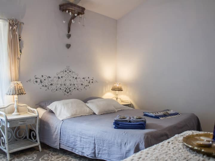 Chambre bleue-Double room-Romantic-Ensuite with Shower-Garden View
