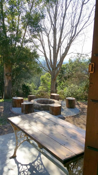 outside fire-pit for social braai's/BBq   overlooking 180deg views of deep forest valleys and mountains