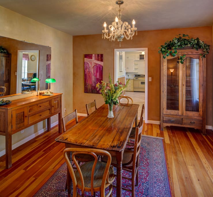 Dining room with 6 chairs credenza and curio