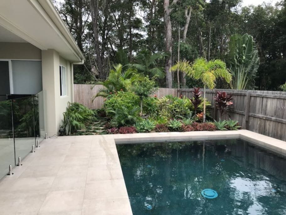 Pool - Alfresco to left with seating, dining table, ceiling fan, lighting & Gas BBQ
