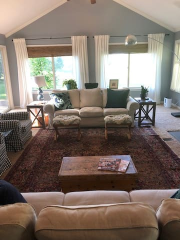 Large, bright windows in Family Room