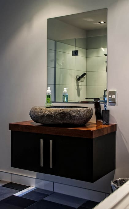 Handmade stone basin in your bathroom