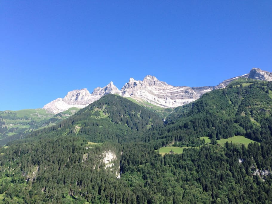 View from the balcony towards the 'Dents du Midi'