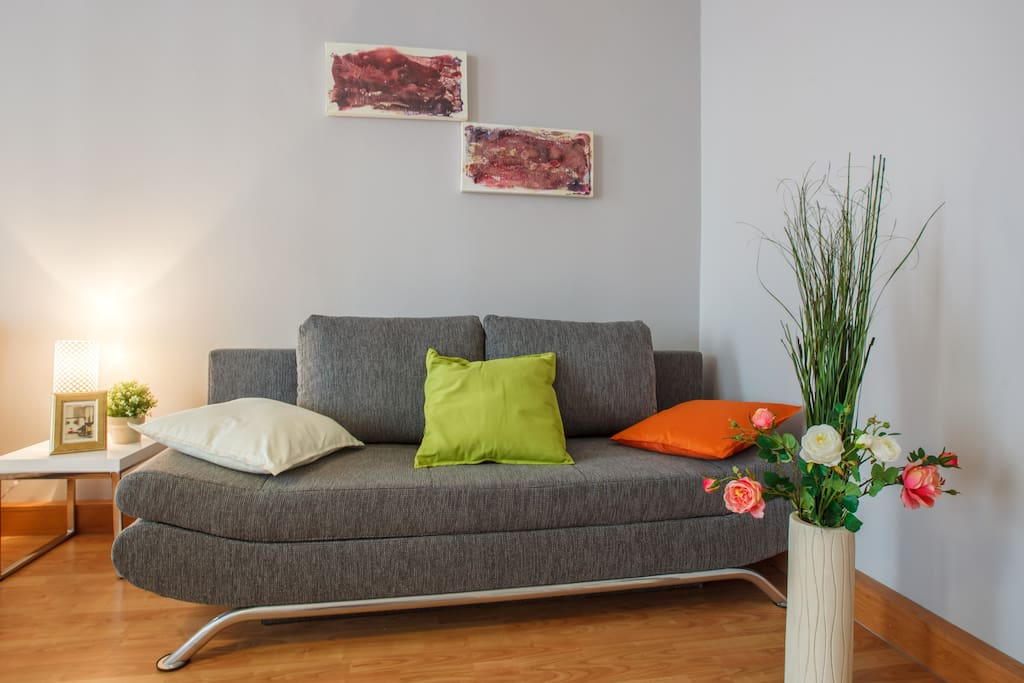 Bedroom №1: king-size bed for two person and foldout sofa for two person.