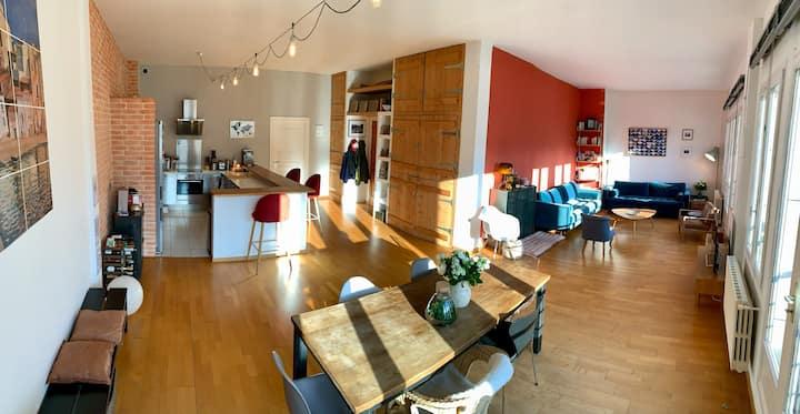 Appartement familial comme un Loft, rive gauche.