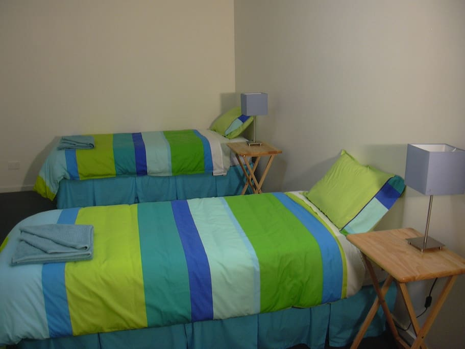 2nd Bedroom, 2 Single and 1 Double Bed.