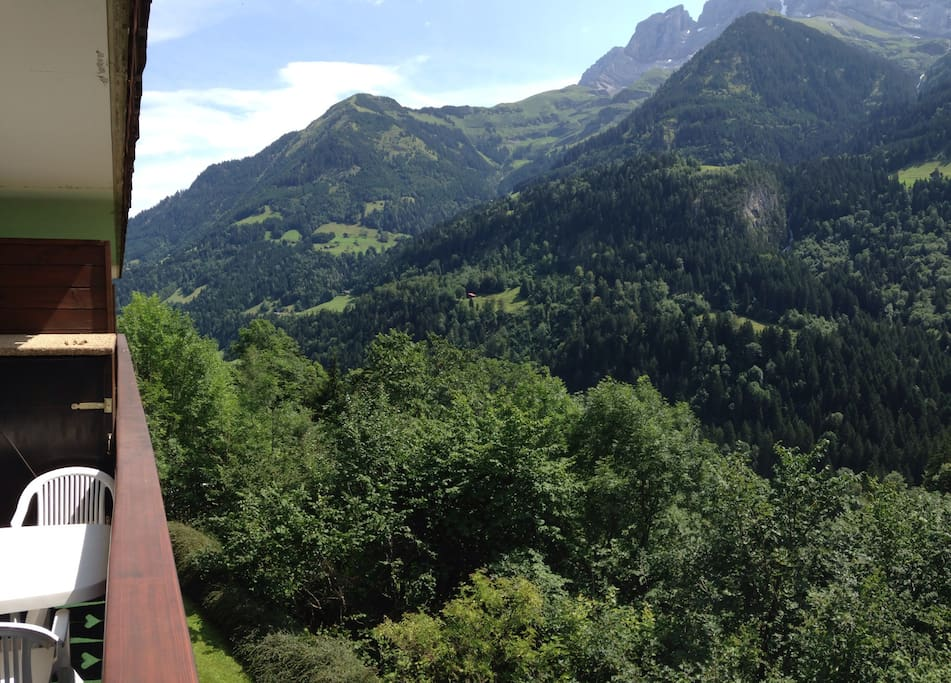 View from the balcony to the left (to the northeast direction of Val d'Illiez and  Monthey)