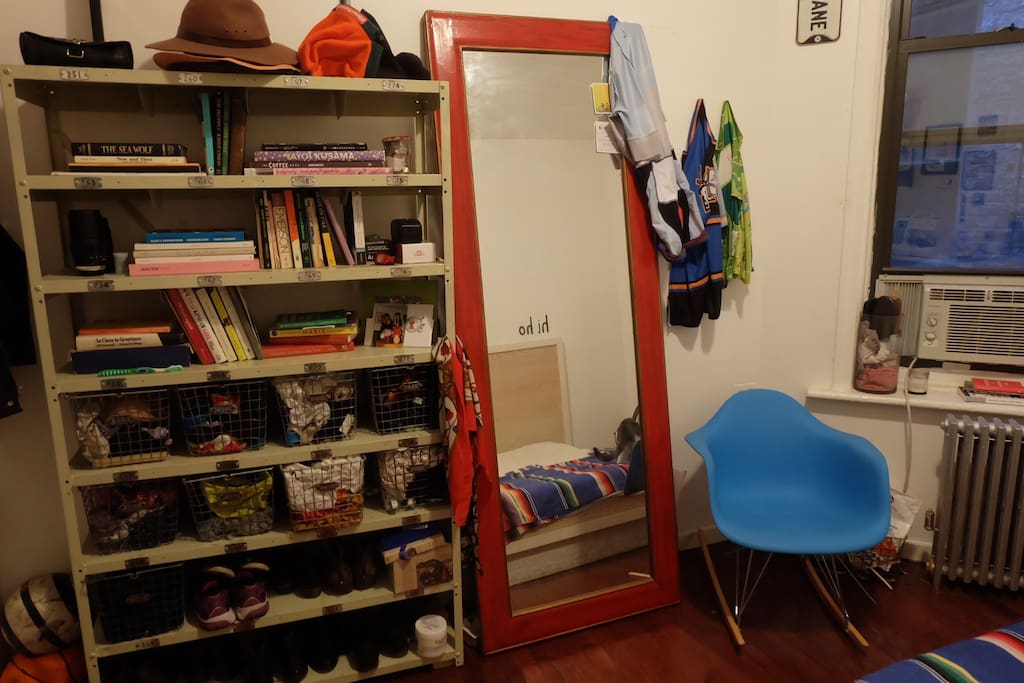 Mirror and rocking chair and books!