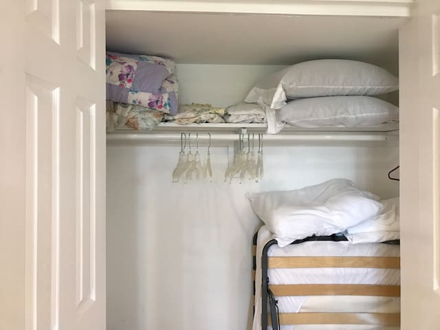 Your closet with a twin folding cot and queen air mattress plus linens for those and your futon!