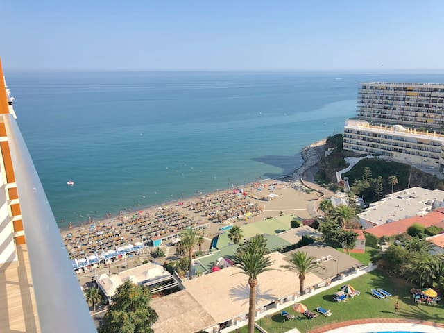Amazing views from the terrace.  Direct access to the beach through private elevator.