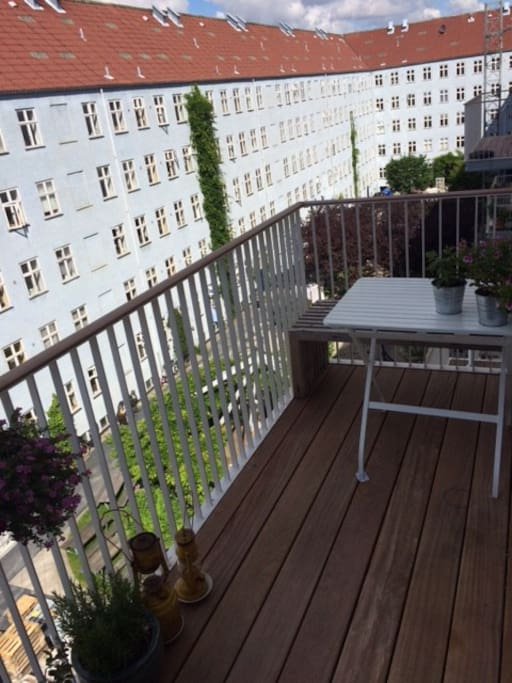 balcony with evening sun and perfect dinner spot