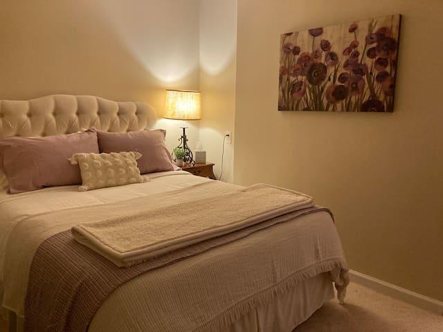 Comfortable Queen bed in separate private bedroom.