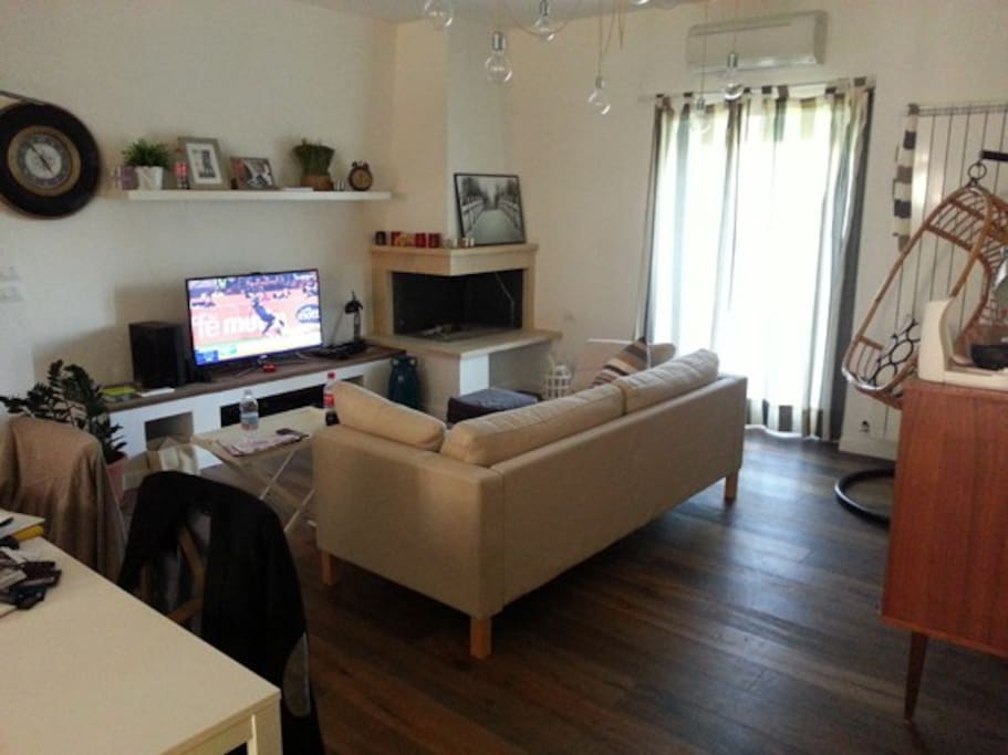 big and technological living room