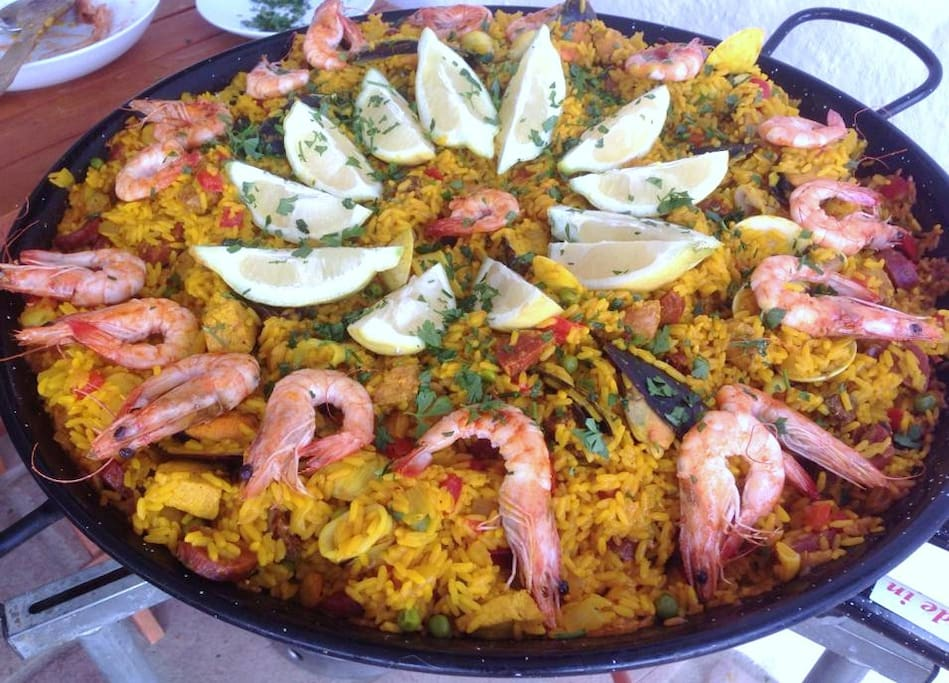 Paella night..!!  Cooked on the outside burner