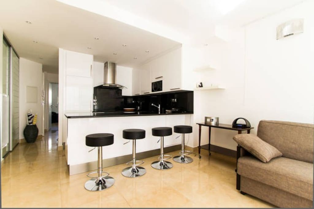 ONE NICE ALL EQUIPPED AMERICAN KITCHEN  OPENS ON A VERY PLEASANT AND CONFORTABLE LIVING ROOM