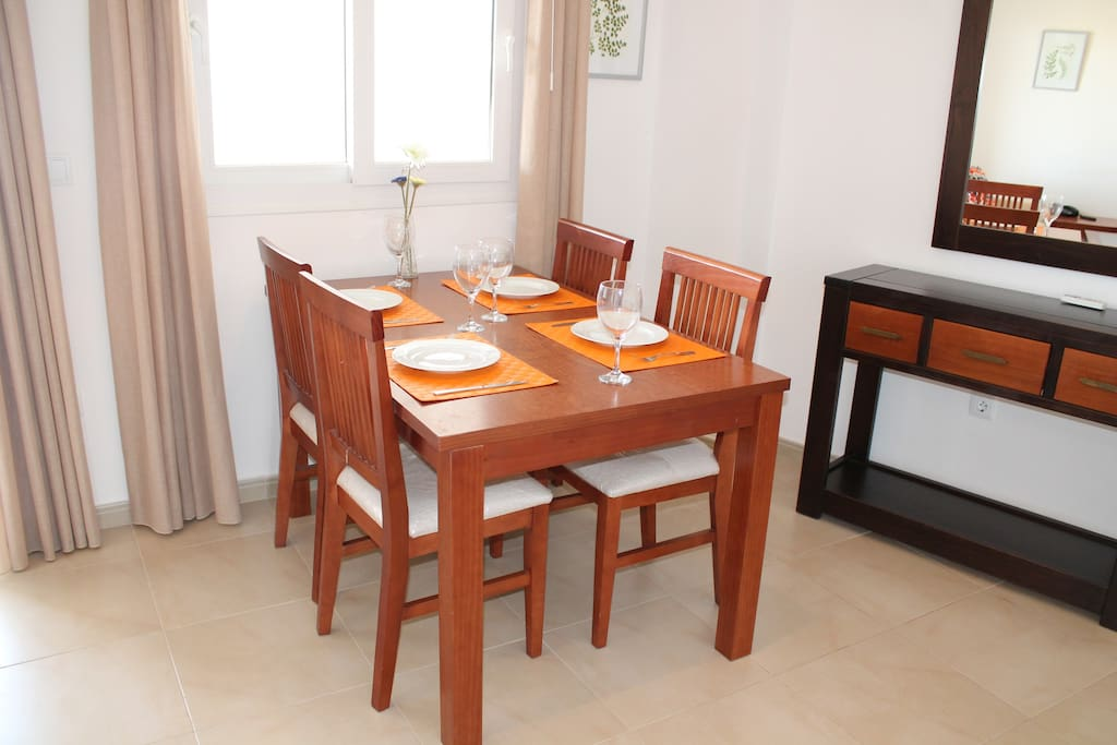Dining table in the living area.