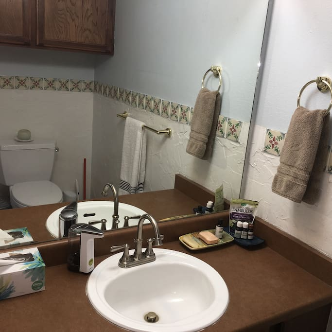 Shared Main level half bath with paper towels extra towels and light bulbs.