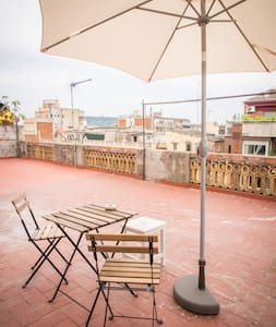 "Dear friends! Very sunny and comfortable rooftop flat, ""Carlson's home"" in the center of BARCELONA (Plaza Universidad), 35m2, terrace 80m2, 1 living-room, 1 bedroom, big kitchen with all that you need for a comfortable staying."