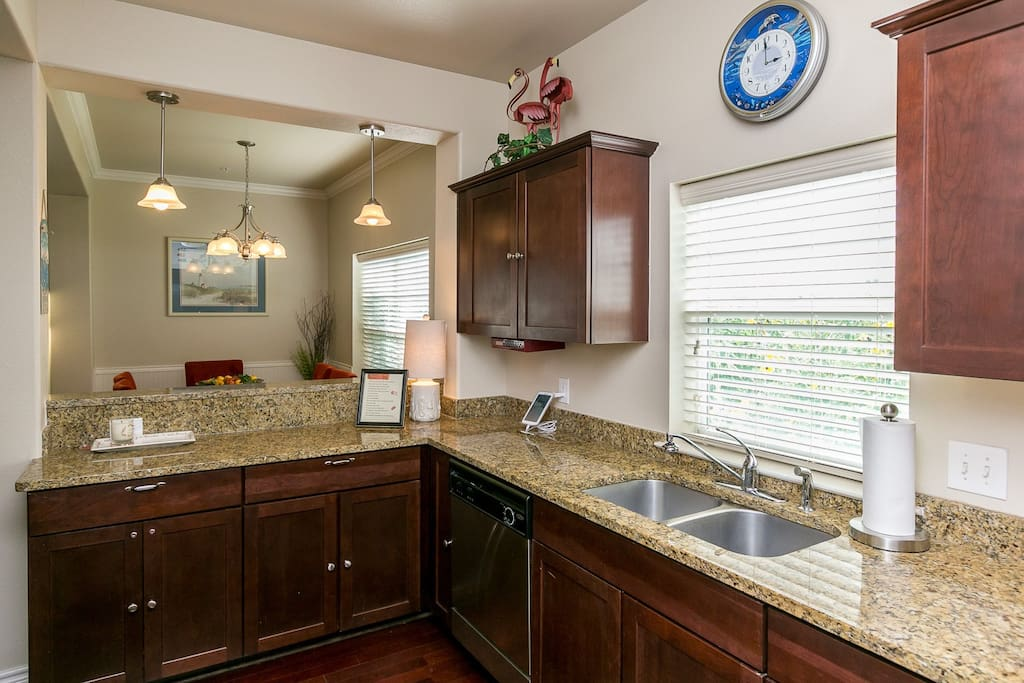 Our fully-equipped kitchen has beautiful granite counter tops and stainless steel appliances.