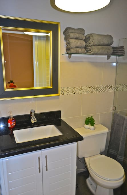 Well appointed bathroom with glass tiles and granite countertop.