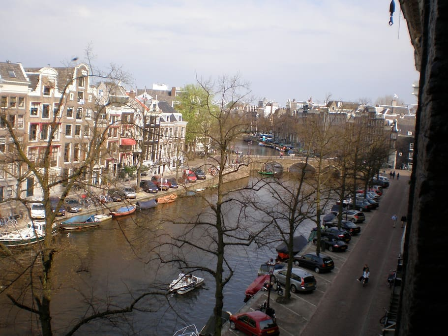 View from front windows down the canal towards great shopping on a fashionable and popular street.