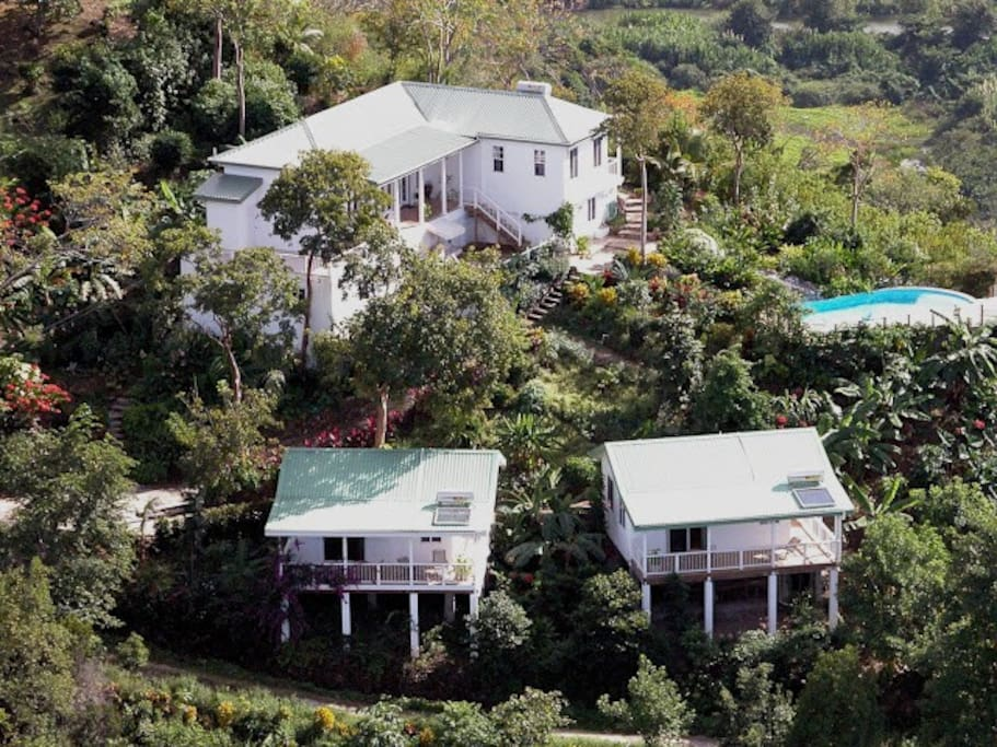 Nature's Paradise at Marigot Bay. Aerial View of Main-House & Cottages