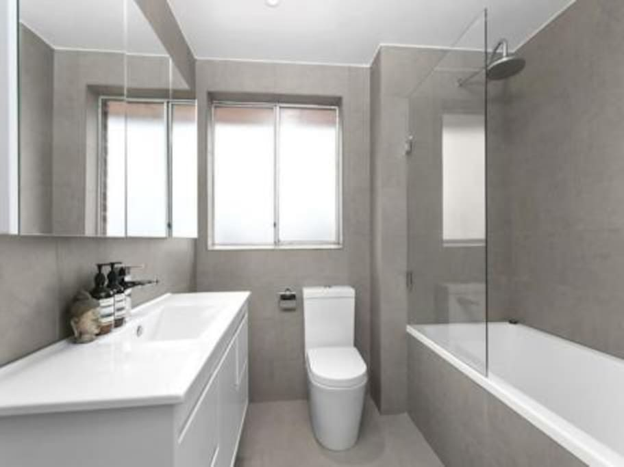 Modern bathroom with bath