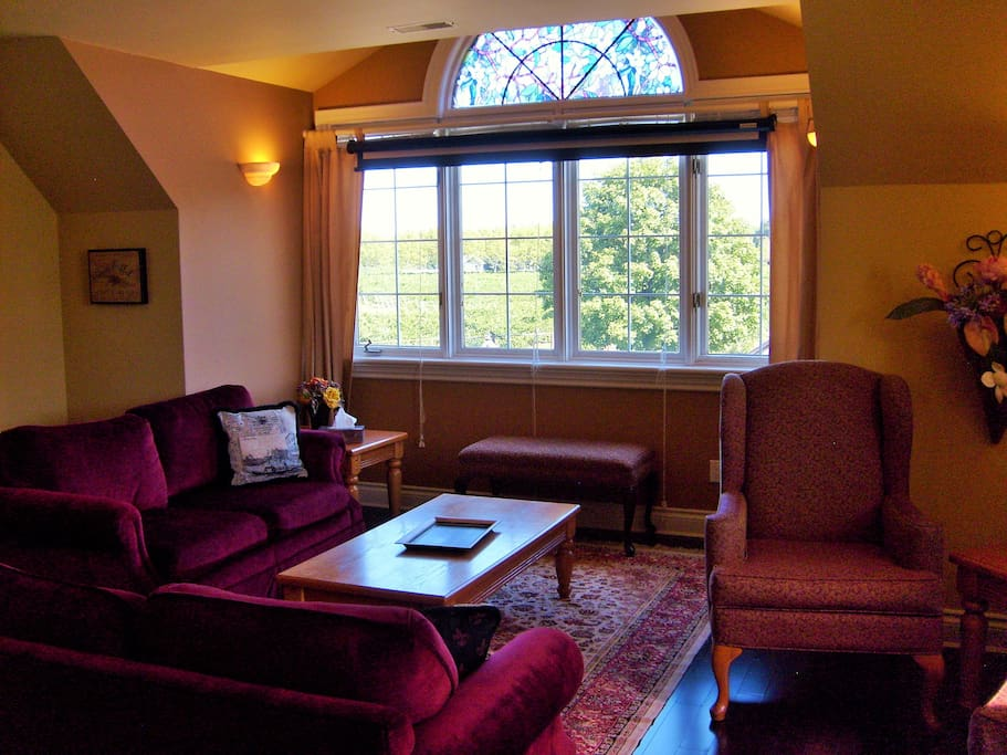 The common area, or living room, has two couches and a TV for watching DVDs.