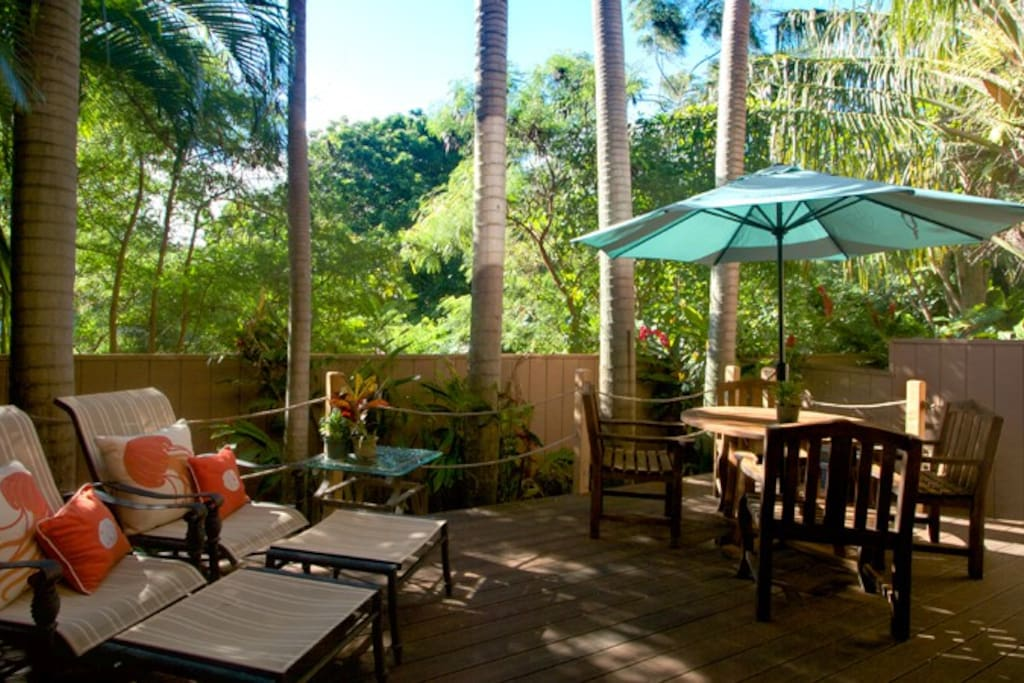 500 sq ft lanai, great for enjoying the outdoors, we also have a heated shower out here too!