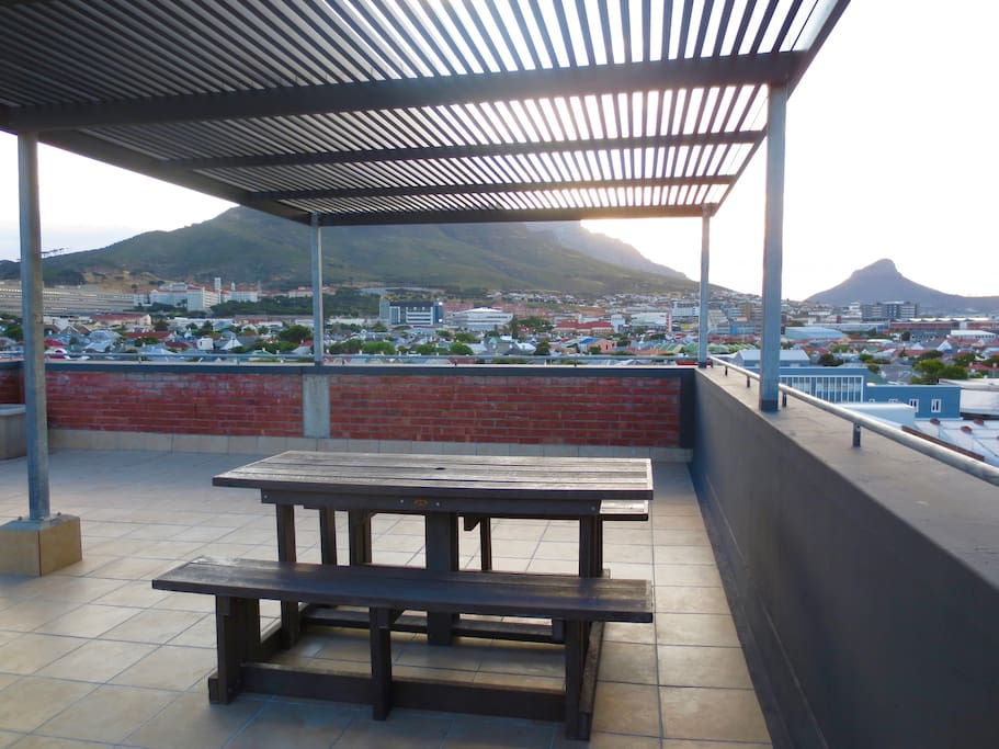 This is the eating area available on the roof. Perfect for enjoying a glass of wine and watching the sun go down.